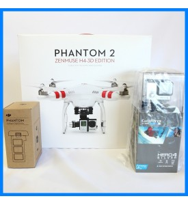 DJI Phantom2 + H4-3D Extra Battery with Gopro Hero 4 Silver LCD Camera 1080p60